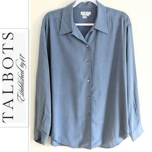 TALBOTS Silk Button down shirt slate blue